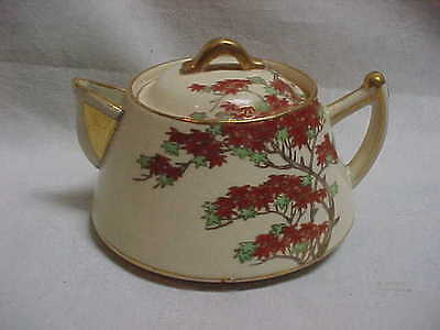 Satsuma Covered Creamer Or Syrup With Red Tree Decor