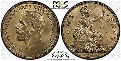 Great Britain 1d Penny 1936 MS65 RD PCGS KM#838 George V 2ND FINEST
