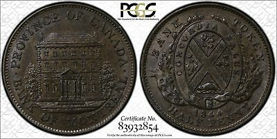 Bank Token Canada 1/2 Half Penny 1844 MS65 PCGS PC-1B3 Montreal FINEST