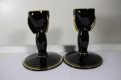 Pair Vintage Art Deco Chandelier Candle Holder Candelstick Black Amythyst Glass