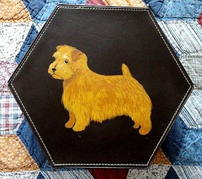 Norfolk Terrier Dog Hand Painted Faux Leather hexagon box for treasures