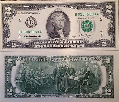 Usa 2013 2 Dollar Frn Uncirculated Crisp Banknote B Series New York Usa Seller