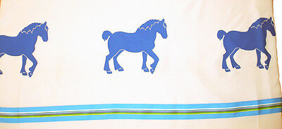 Draft Horse Belgian Clydesdale White Shower Curtain w/ BLUE horses SALE