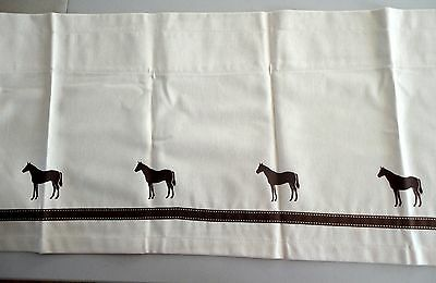 Thoroughbred Horse Window Valance Natural denim w/ brown horses ribbon SALE