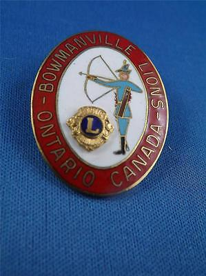 Lions Club Canada Bowmanville Ontario Vintage Pin Archer Bow & Arrow