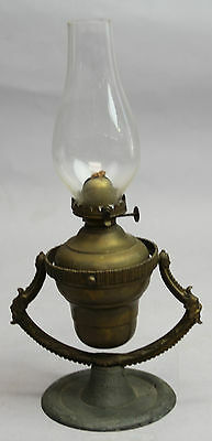 Antique Gimbal Oil Lamp E Miller Made In Usa Ships North Wind Faces Beautiful