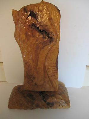 Vintage 1975 Signed Wormy Peacon Wood Horse Carving