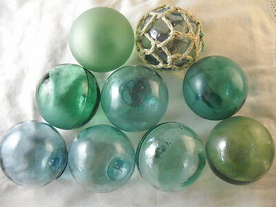 9 Beach Combed Japanese Glass Floats VINTAGE & Lots of Variety Alaska BeachBUM