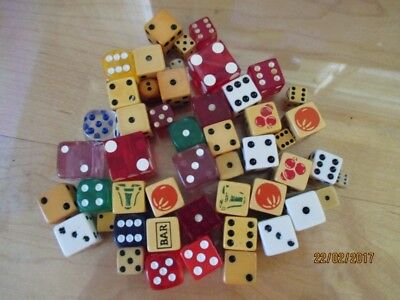 Estate Lot Vintage Dice Bakelite Poker Casino - Assorted Sizes & Colors