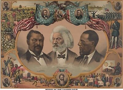Black Americana Poster Frederick Douglass African American Heroes Vtg Print 1561
