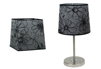 Black & Grey Flower Pattern Table Lamp Shade, Small, Large, Round, Square.