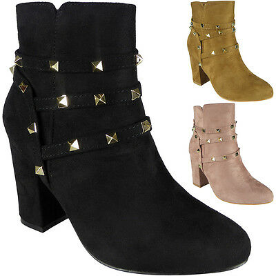 New Womens Ladies Faux Suede Zip Mid Heel Party Studded Ankle Boots Shoes Size
