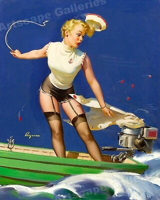 """A Fast Takeoff"" 1950s Boating Vintage Style Elvgren Pin-Up Poster - 16x20"