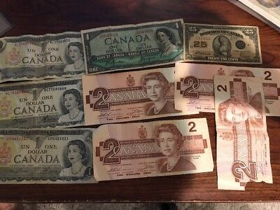 Lot Of 9 Canada Bank Notes, Bank Of Canada And Dominion