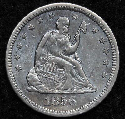 1856-O Seated Liberty Quarter 25 Cents, Key Date 968,000 Minted, Nice (5218)