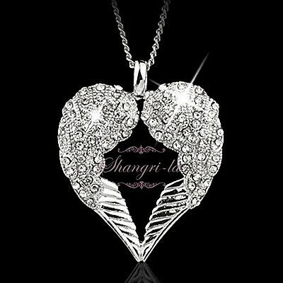 18K White Gold Gp Silver Angel Wings Heart Crystal Womens Long Necklace Sp224