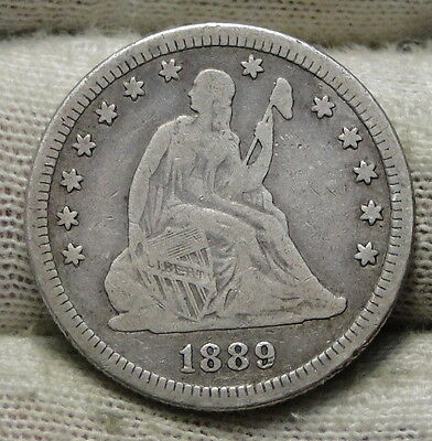1889 Seated Liberty Quarter 25 Cents - Rare Key Date, Only 12,000 Minted (5776)