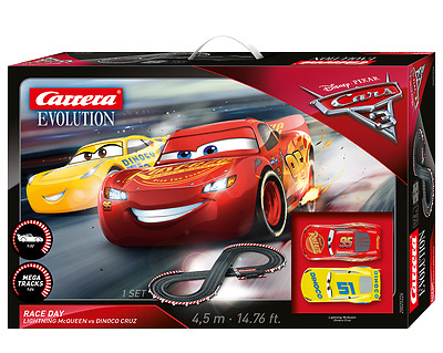 Carrera Evolution 1/32 Slot Car Set Disney Cars Race Day Car25226
