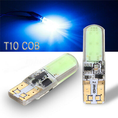 2x T10 194 W5W COB LED Car Ultra Bright Silica Flash Strobe Light Bulb Blue 12V
