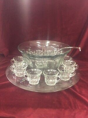 Extra Large Vintage Clear Gl Punch Bowl Underplate 11 Cups Ladle