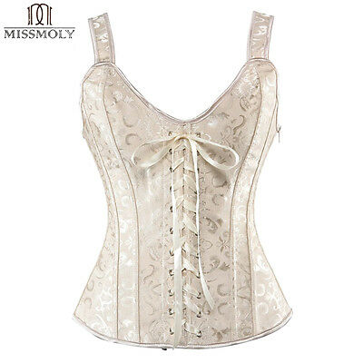 Women Laced/Zip Up Overbust Waist Training Corset Top Bustiers Steampunk Nude M