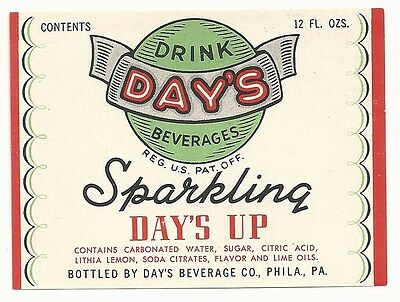 1940's Day's Sparkling Day's Up 12 oz. Soda Label - Philadelphia, PA