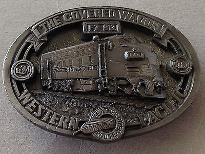 Vintage 1986 C&J Western Pacific Railroad Belt Buckle COVERED WAGON F7913 VG++