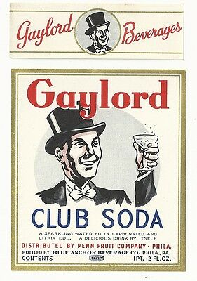 1930's Gaylord Club Soda Label With Neck - Philadelphia, PA - Lithiated