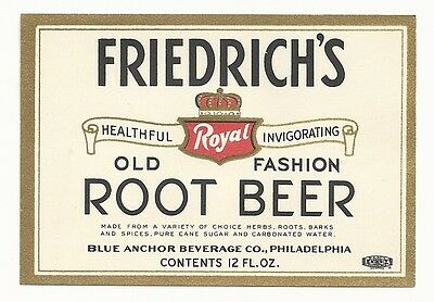 1930's Friedrich's Old Fashion Root Beer Label - Philadelphia, PA