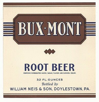 1930's Bux-Mont Root Beer Label - Doylestown, PA