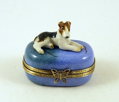 New Hand Painted French Limoges Trinket Box Fox Terrier Dog Puppy On Blue Box