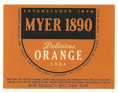 1940's Myer 1890 Orange Soda Label - New York, NY