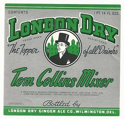 1940's London Dry Tom Collins Mixer Label - Wilmington, DE