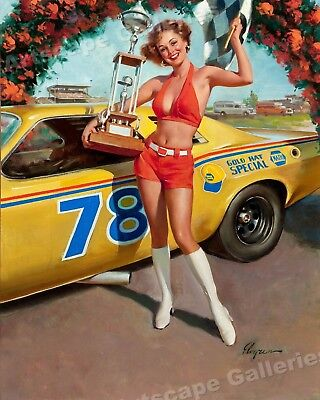 """Victory!"" Vintage Style Elvgren Pin-Up Girl Racing Winner Poster - 16x20"