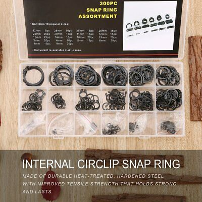 300pcs Internal Circlip Snap Ring Shop C Type Ring C-Clips Group Sets XRAU