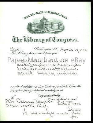 1953 LIBRARY OF CONGRESS Signed LETTER to DEEMS TAYLOR about Gift Of Manuscripts