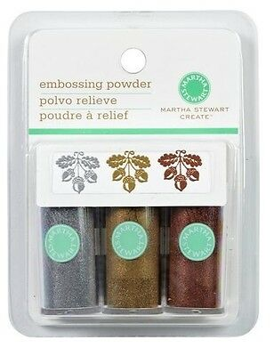 Martha Stewart Metallic Embossing Powder - 3 Colours, Silver, Bronze & Gold