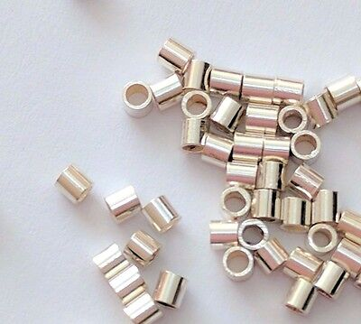 2 grams (approximately 60 to 70) Sterling Silver Crimps 2mm x 2mm x 2mm (38)