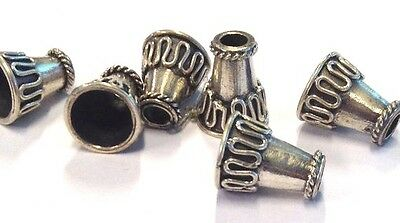 6 x Sterling Silver Decorative Squiggly Line Cones / End Bead, 10mm x 6mm (56)