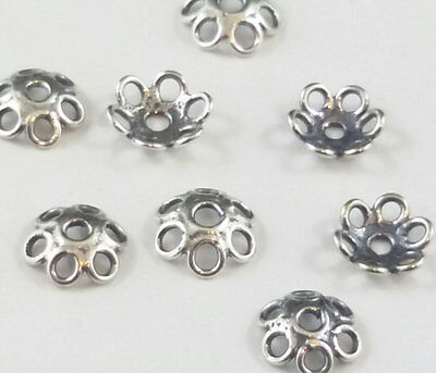 8 x Filigree Wire Sterling Silver Antiqued 5mm Decorative Bead Caps  (14)