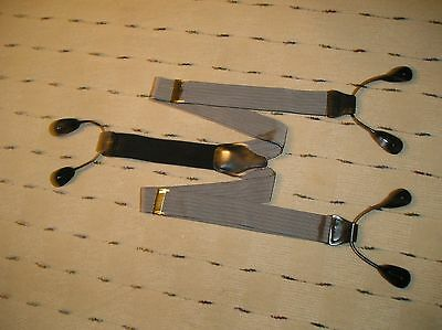 English Silk and Leather Suspenders/ Braces Black and Silver Design