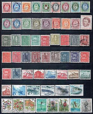 NORWAY - Mixed lot of 58 Stamps, most Good - Fine Used, LH