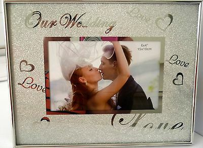 """our Wedding Love Love Love"" Beautiful Sparkly Silver Photo Frame With Stand Bn"