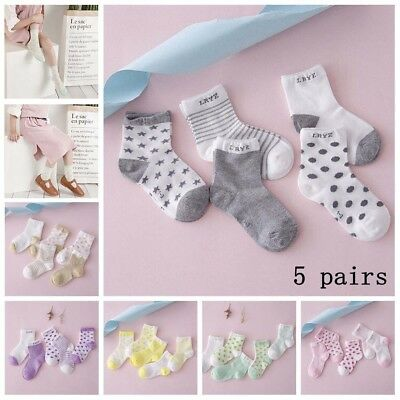 5 Pairs Baby Boy Girl Cotton Stars Socks New Born Infant Toddler Kids Warm Socks