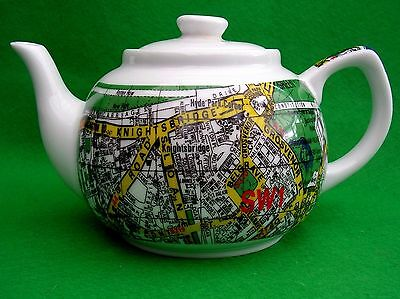 Paul Cardew Teapot Retro London Map SW1 Knightsbridge  Pottery UK Chic BoHo