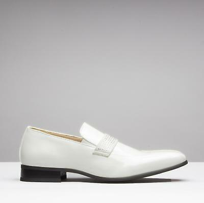 Mister Carlo SKIPTON Mens Faux Patent Chisel Toe Elasticated Loafers White