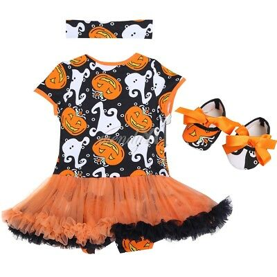 Newborn Baby Girl 1st Birthday 3pcs Romper Jumpsuit Headband Shoes Outfit CHEAP!