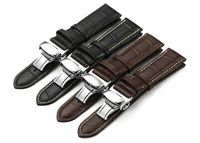 18-24 mm Calf Leather Strap Alligator Grain Watch Band Butterfly Deployant Clasp