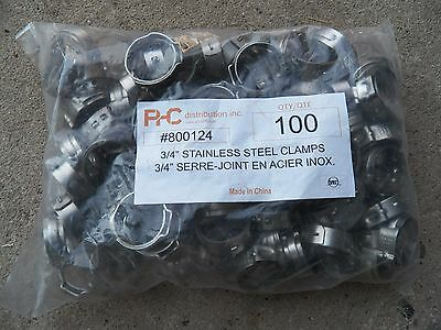 "3/4"" Stainless Steel Clamps Plumbing Supply 100 pc PHC Distribution - NEW"