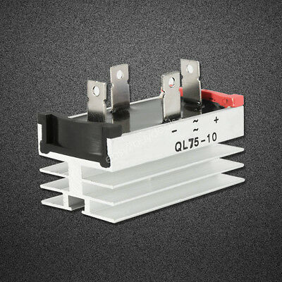 1 x Aluminum Heatsink Base Single Phase Bridge Rectifier Diode 75A 1000V ES